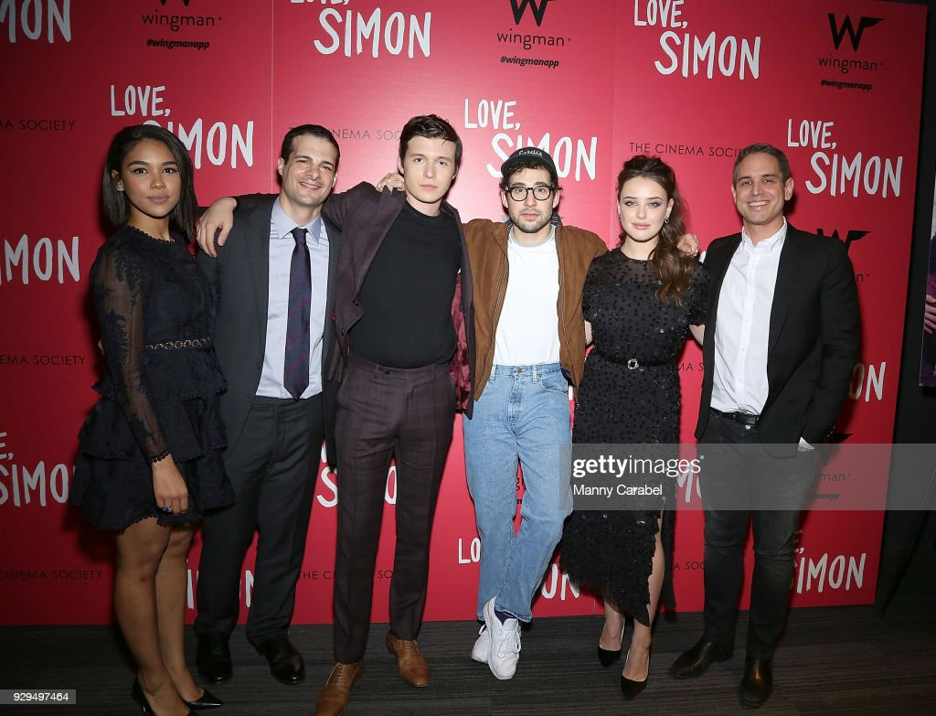 Alexandra Shipp, Pouya Shahbazian, Nick Robinson, Jack Antonoff, Katherine Langford and Greg Berlanti attend 20th Century Fox & Wingman host a NYC screening of 'Love,Simon' at Landmark Theatre on March 8, 2018 in New York City.