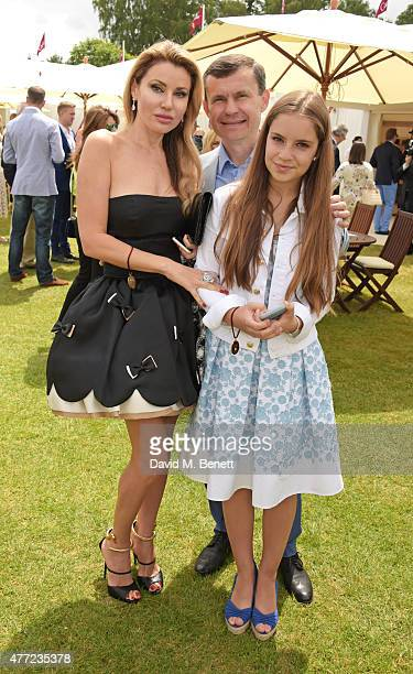 Alexandra Shishlova Alexey Mauergauz and Nikol Mauergauz attend The Cartier Queen's Cup final at Guards Polo Club on June 14 2015 in Egham England