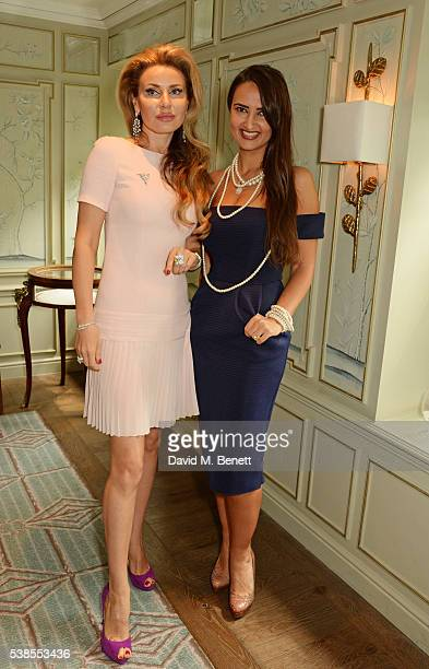 Alexandra Shishlova and Alina Blinova attend a lunch hosted by Tamara Beckwith and Alessandra Vicedomini to celebrate luxury fashion brand Vicedomini...