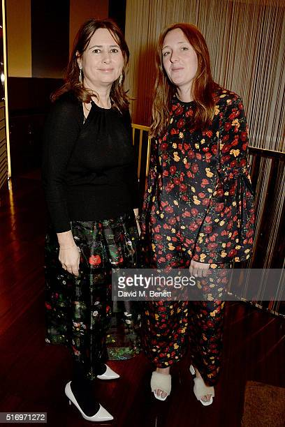 Alexandra Shulman and Amy Powney attend the BFC/Vogue Designer Fashion Fund 2016 winners announcement at Bulgari Hotel on March 22 2016 in London...