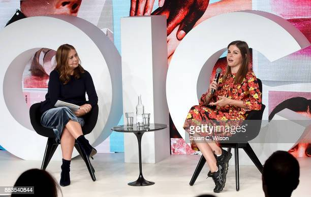 Alexandra Shulman and Emily Weiss speak on stage during #BoFVOICES on December 1 2017 in Oxfordshire England
