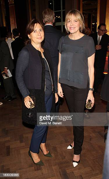 Alexandra Shulman and guest attend the launch of Geordie Greig's new book Breakfast With Lucian on October 3 2013 in London England