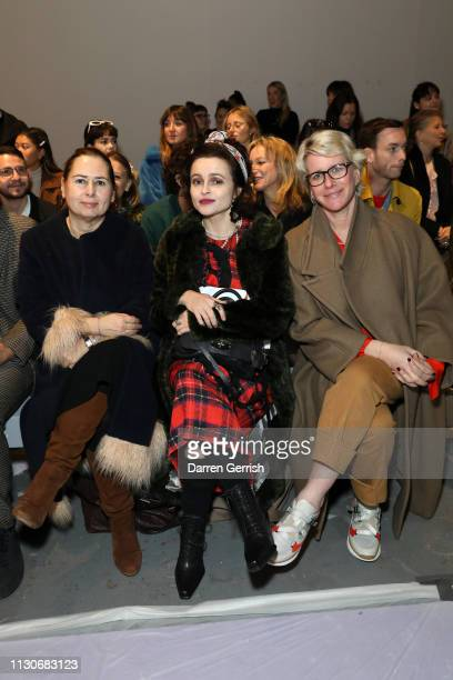 Alexandra Shulman and Helena Bonham Carter attend the Shrimps show during London Fashion Week February 2019 at Ambika P3 on February 19 2019 in...