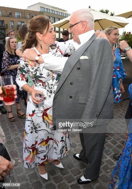 Alexandra Shulman and Manolo Blahnik attend British Vogue editor Alexandra Shulman's leaving party at Dock Kitchen on June 22 2017 in London England