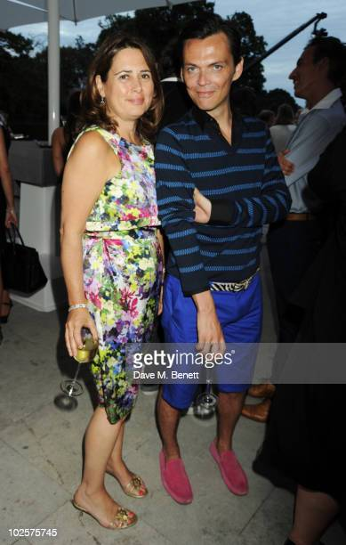 Alexandra Shulman and Matthew Williamson attend the party to celebrate the 40th anniversary of Range Rover hosted by Vogue at The Orangery on July 1...