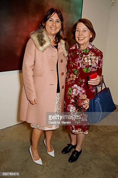 Alexandra Shulman and mother Drusilla Beyfus attend a private view of 'Photographs Of Films' by artist Jason Shulman at The Cob Gallery on May 11...