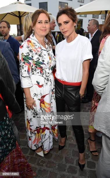Alexandra Shulman and Victoria Beckham attend British Vogue editor Alexandra Shulman's leaving party at Dock Kitchen on June 22 2017 in London England
