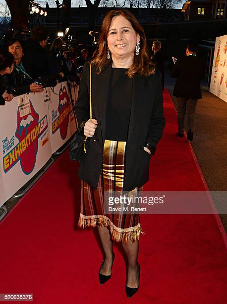 Alexandra Shulman attends a private view of 'The Rolling Stones Exhibitionism' at The Saatchi Gallery on April 4 2016 in London England Photo by...