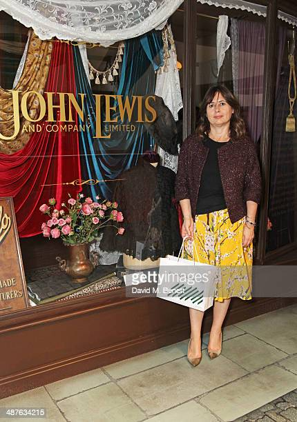 Alexandra Shulman carrying a personalised John Lewis bag attends the preview party of John Lewis's 'Stories of a Shopkeeper' exhibition at the John...