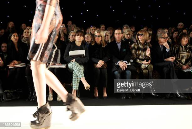 Alexandra Shulman Ronnie Newhouse Jonathan Newhouse Anna Wintour Bill Nighy and Hilary Alexander sit in the front row at the Mulberry Autumn/Winter...