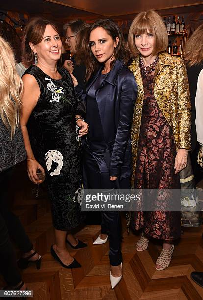 Alexandra Shulman Victoria Beckham and Anna Wintour attend the launch of 'Vogue Voice Of A Century' a new book celebrating Vogue Britain's centenary...