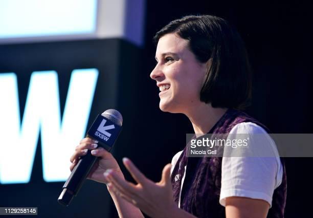 Alexandra Socha speaks onstage at Featured Session Maria Shriver Alexandra Socha and Farida Sohrabji with Ashley C Ford during 2019 SXSW Conference...