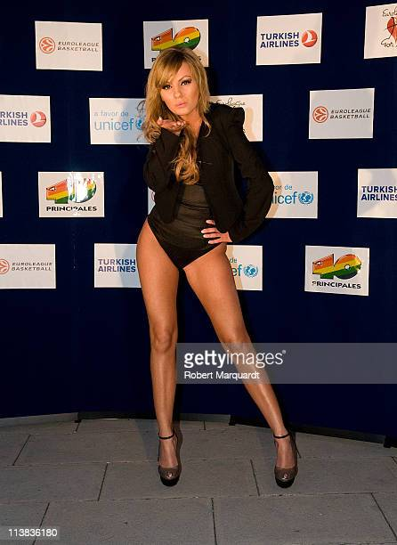 Alexandra Stan attends a photocall at the 'Euroleague for Africa 40 Pop' concert on May 7 2011 in Barcelona Spain