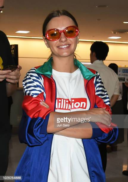 Alexandra Stan is seen upon arrival at Narita International Airport on August 30 2018 in Narita Japan