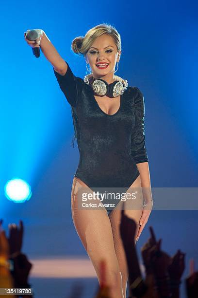 Alexandra Stan performs on stage during 40 Principales Awards 2011 at Palacio de los Deportes on December 9 2011 in Madrid Spain