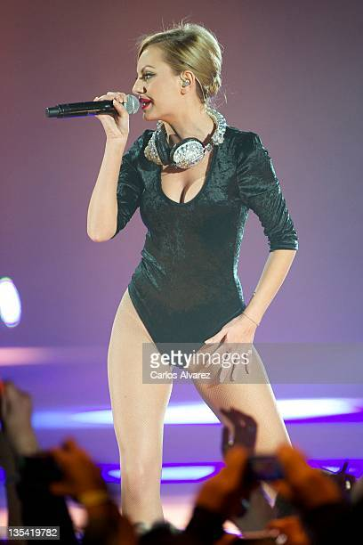 Alexandra Stan performs on stage during '40 Principales Awards' 2011 at Palacio de los Deportes on December 9 2011 in Madrid Spain