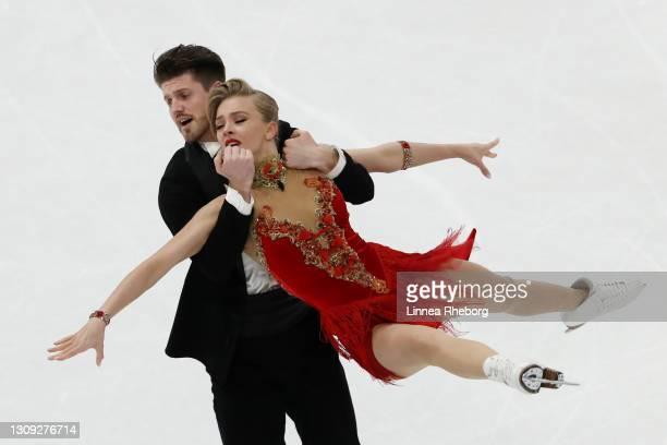 Alexandra Stepanova and Ivan Bukin of Figure Skating federation of Russia perform in Ice Dance Rhythm Dance during day three of the ISU World Figure...