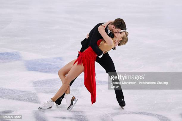 Alexandra Stepanova and Ivan Bukin of FSR compete in the Ice Dance Rhythm Dance during day three of the ISU World Figure Skating Championships at...