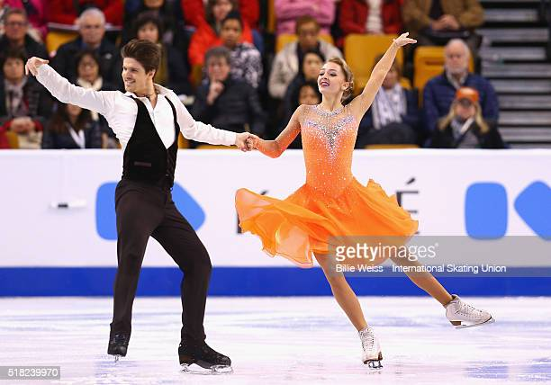 Alexandra Stepanova and Ivan Bukin of Russia compete during Day 3 of the ISU World Figure Skating Championships 2016 at TD Garden on March 30 2016 in...