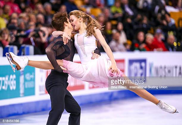 Alexandra Stepanova and Ivan Bukin of Russia compete during Day 4 of the ISU World Figure Skating Championships 2016 at TD Garden on March 31 2016 in...