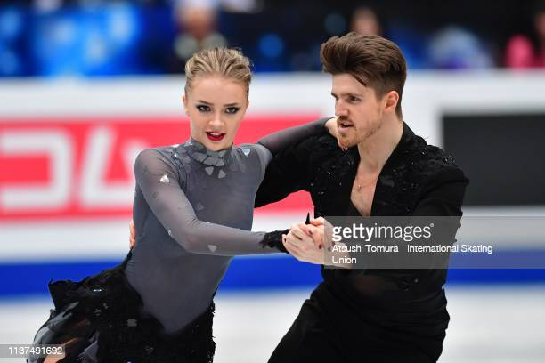 Alexandra Stepanova and Ivan Bukin of Russia compete in the Ice Dance Rhythm Dance on day three of the 2019 ISU World Figure Skating Championships at...