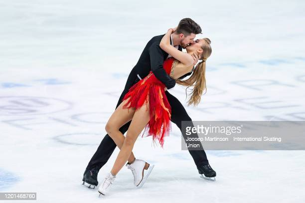 Alexandra Stepanova and Ivan Bukin of Russia compete in the Ice Dance Rhythm Dance during day 2 of the ISU European Figure Skating Championships at...