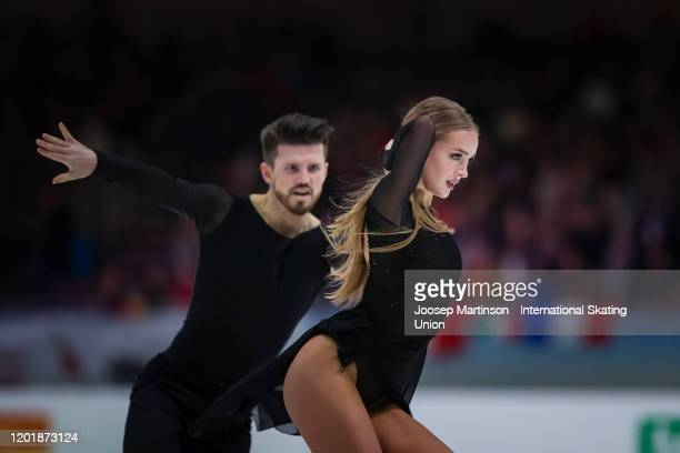 Alexandra Stepanova and Ivan Bukin of Russia compete in the Ice Dance Free Dance during day 4 of the ISU European Figure Skating Championships at...