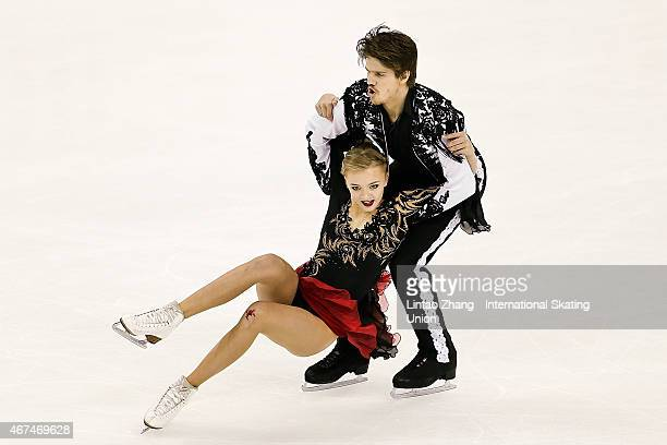 Alexandra Stepanova and Ivan Bukin of Russia compete in the Ice Dance Short Dance on day one of the 2015 ISU World Figure Skating Championships at...