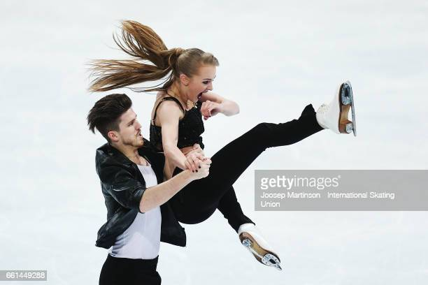 Alexandra Stepanova and Ivan Bukin of Russia compete in the Ice Dance Short Dance during day three of the World Figure Skating Championships at...