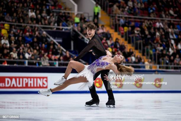 Alexandra Stepanova and Ivan Bukin of Russia compete in the Ice Dance Short Dance during day three of the European Figure Skating Championships at...