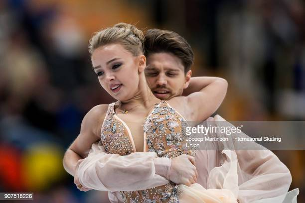 Alexandra Stepanova and Ivan Bukin of Russia compete in the Ice Dance Free Dance during day four of the European Figure Skating Championships at...