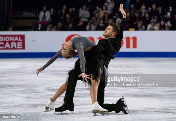 Alexandra Stepanova and Ivan Bukin of Russia compete in the Rhythm Dance portion of the Ice Dance Competition on December 2018 at the ISU Junior...