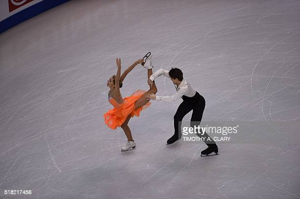 Alexandra Stepanova and Ivan Bukin of Russia during Ice Dance Short Dance competition at the ISU World Figure Skating Championships at TD Garden in...