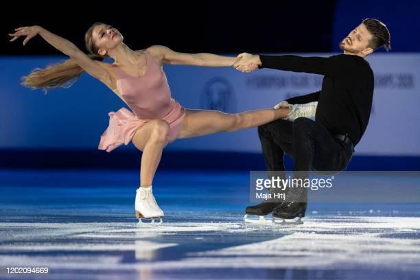 Alexandra Stepanova and Ivan Bukin of Russia perform during exhibition program at the ISU European Figure Skating Championships at Steiermarkhalle on...