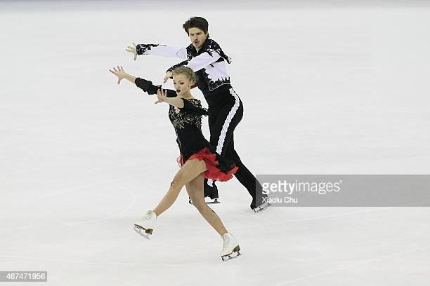 Alexandra Stepanova and Ivan Bukin of Russia perform during the Ice Dance Short Dance on day one of the 2015 ISU World Figure Skating Championships...