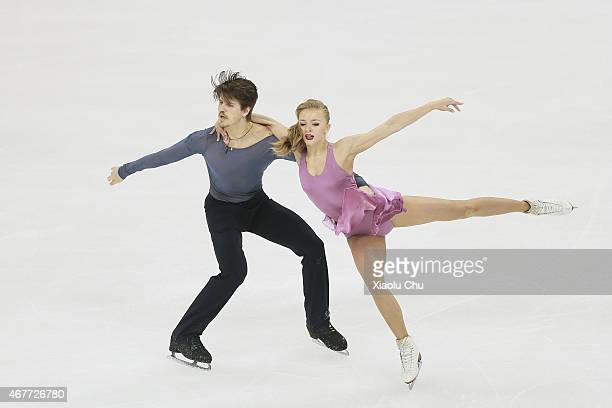 Alexandra Stepanova and Ivan Bukin of Russia perform during the Ice DanceFree Dance on day three of the 2015 ISU World Figure Skating Championships...