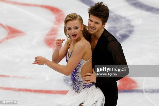 Alexandra Stepanova and Ivan Bukin of Russia perform during the Ice Dance Short Dance event on the first day of the ISU GP Rostelecom Cup 2017 at the...