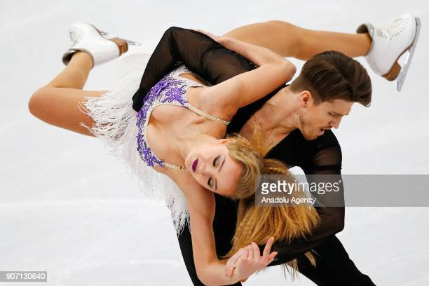 Alexandra Stepanova and Ivan Bukin of Russia perform in the Ice Dance category of Short Dance segment skating during the ISU European Figure Skating...