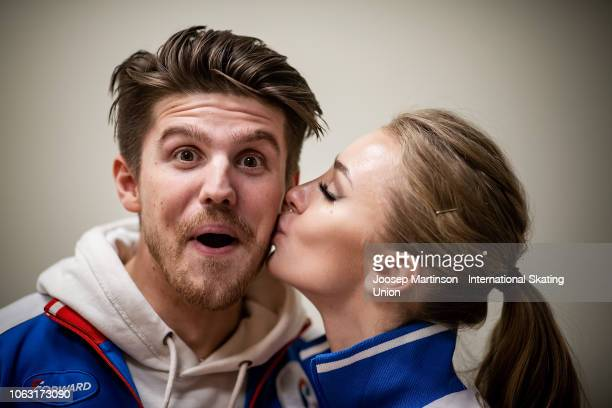 Alexandra Stepanova and Ivan Bukin of Russia pose for a photo during day 3 of the ISU Grand Prix of Figure Skating Rostelecom Cup 2018 at Arena...