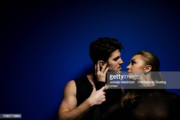 Alexandra Stepanova and Ivan Bukin of Russia pose for a photo during day five of the ISU European Figure Skating Championships at Minsk Arena on...