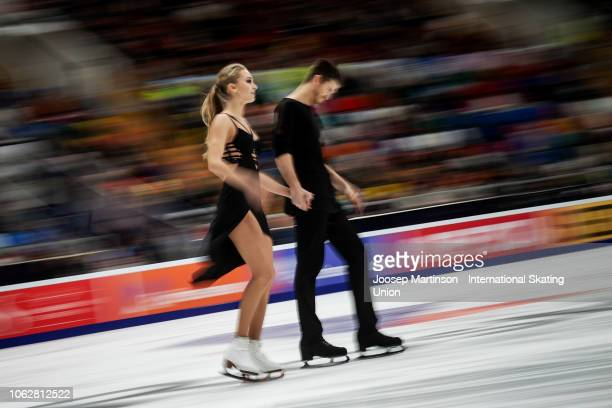 Alexandra Stepanova and Ivan Bukin of Russia react in the Ice Dance Free Dance during day 2 of the ISU Grand Prix of Figure Skating Rostelecom Cup...
