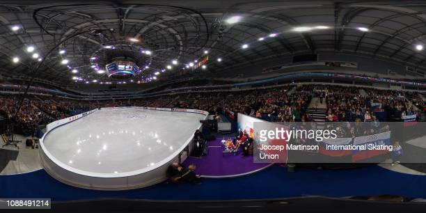 Alexandra Stepanova and Ivan Bukin of Russia sit at the kiss and cry after competing in the Ice Dance Rhythm Dance during day three of the ISU...