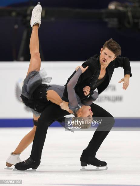Alexandra Stepanova and Ivan Bukin of Russia skate during their ice dance rhythm dance at the ISU Grand Prix of Figure Skating Rostelecom Cup in...