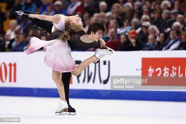 Alexandra Stepanova and Ivan Bukin of Russia skate in Free Dance Program during Day 4 of the ISU World Figure Skating Championships 2016 at TD Garden...