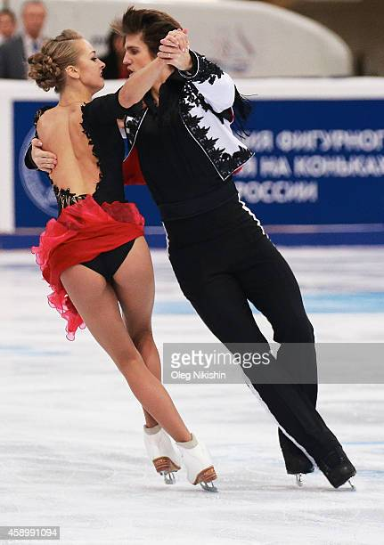 Alexandra Stepanova and Ivan Bukin of Russia skate in the Ice Dance Free Dance during ISU Rostelecom Cup of Figure Skating 2014 on November 14, 2014...