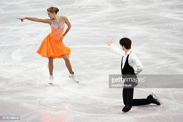 Alexandra Stepanova and Ivan Bukin of Russia skate in the Ice Dance Short program during day 3 of the ISU World Figure Skating Championships 2016 at...