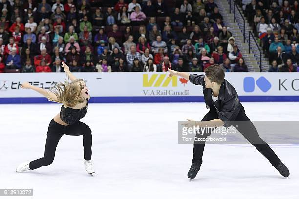 Alexandra Stepanova of Russia and Ivan Bukin compete in the Ice Dance Short Dance Program during day one of the 2016 Skate Canada International at...