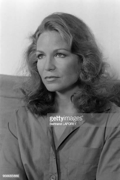 Alexandra Stewart sur le tournage du film 'Le Soleil en face' réalisé par Pierre Kast à Paris en février 1979 France
