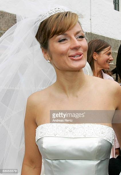 Alexandra Stich maiden name Rikowski poses at the Sankt Severin church on June 11 2005 at Sylt in Germany Michael Stich and Alexandra Rikowski were...