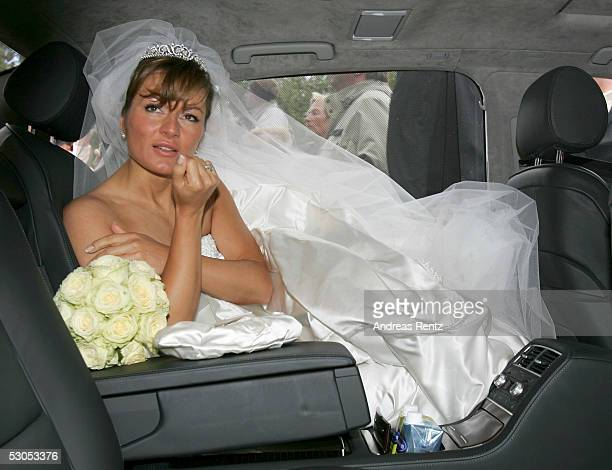 Alexandra Stich maiden name Rikowski sits in the wedding car at the Sankt Severin church on June 11 2005 at Sylt in Germany Michael Stich and...